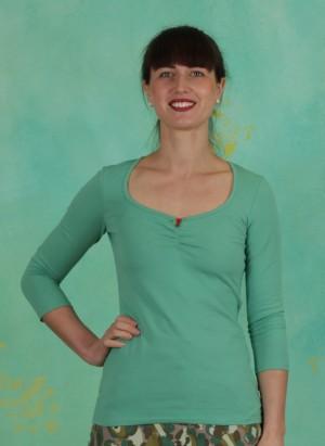 Shirt, Logo 3/4Sleeve Decollete Shirt, simply-green