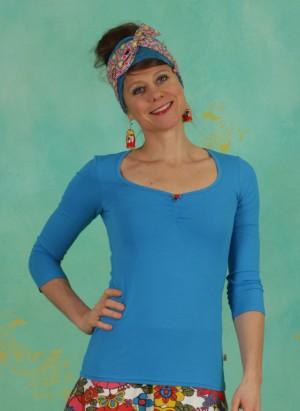 Shirt, Logo 3/4Sleeve Decollete Shirt, simply-blue