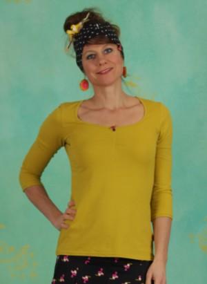Shirt, Logo 3/4Sleeve Decollete Shirt, simply-yellow