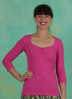 Shirt, Logo 3/4Sleeve Decollete Shirt, simply-pink