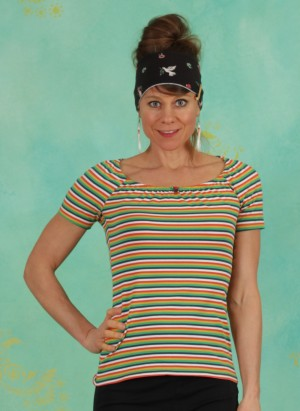 Shirt, Logo Stripe Heart T-Shirt, rainbow-tiny-stripe