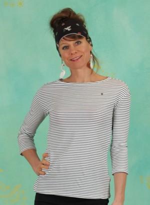 Shirt, Logo Stripe 3/4 Arm Shirt, blue-tiny-stripe