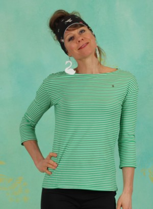 Shirt, Logo Stripe 3/4 Arm Shirt, green-tiny-stripe