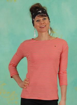 Shirt, Logo Stripe 3/4 Arm Shirt, red-tiny-stripe