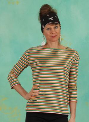 Shirt, Logo Stripe 3/4 Arm Shirt, rainbow-tiny-stripe