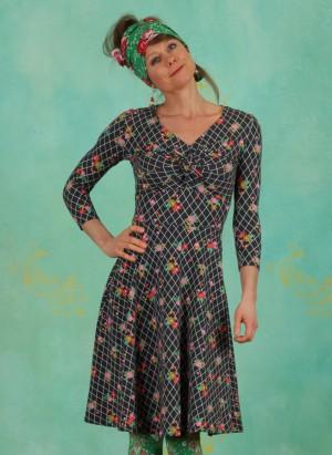 Kleid, Hot Knot Robe 3/4arm, grid-of-flowers
