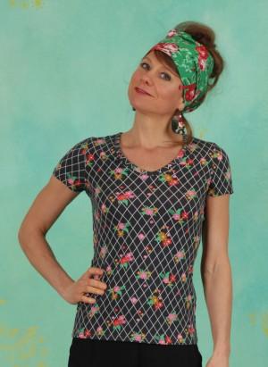 Shirt, Sunshine Camp T-Shirt, grid-of-flowers