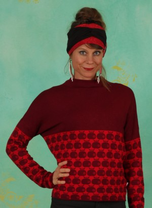 Pullover, Long Turtle, knit-red-apple