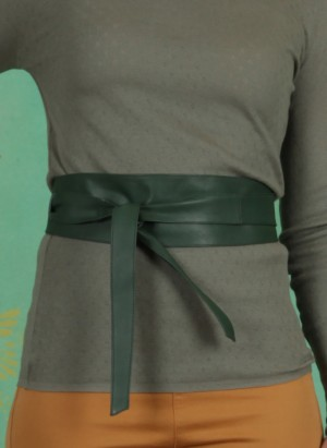 Gürtel, Tie Leather Waist Belt, duck-green