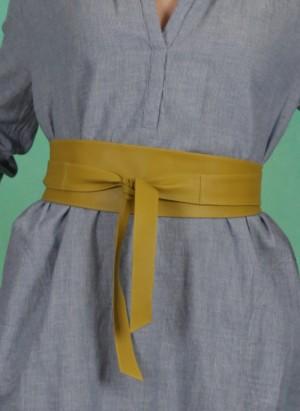 Gürtel, Tie Leather Waist Belt, oil-yellow