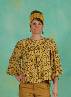 Bluse, Classic Crepe, print-yellow