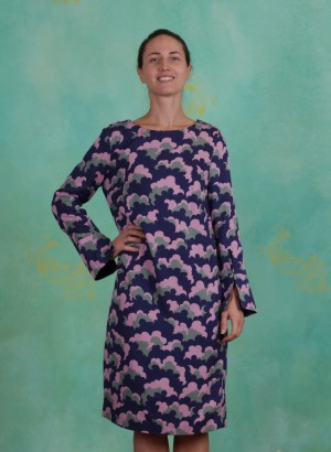 Kleid, Fluid Twill, print-blue
