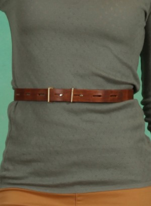 Gürtel, Line Leather Belt, roasted-pecan