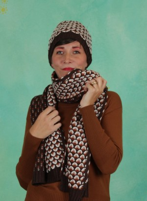 Schal, Knit Scarf, chicory-coffee