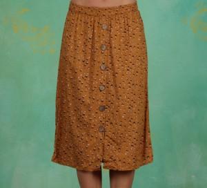 Rock, Midi Skirt, yellow-gold