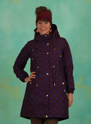 Mantel, Purple Blue Dots Winter Parka, dark-bordeaux