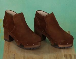 Schuhe, Linda, suede-cognac