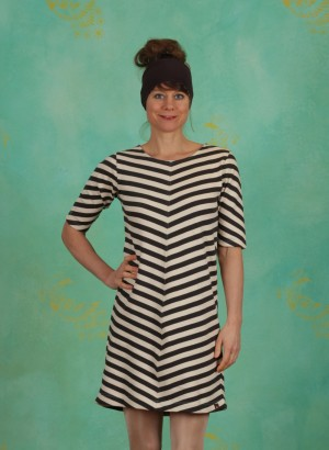 Kleid, Out The Night, charcoal-stripes