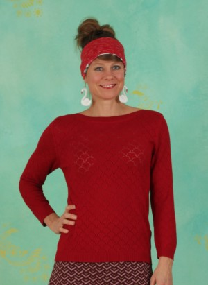 Pullover, Staying Up Knit Jumper, red
