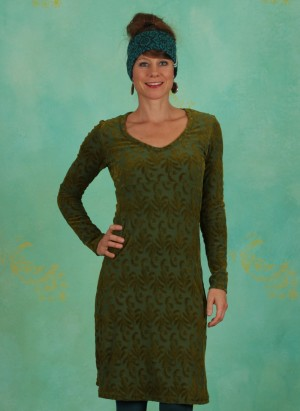 Kleid, V-Neck, spruce-mud