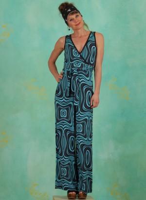 Jumpsuit, LASU2123, black-turquoise