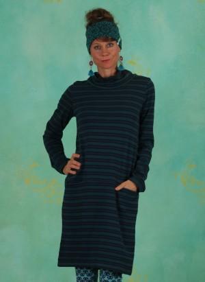 Kleid, W20E05, blue-green-stripes